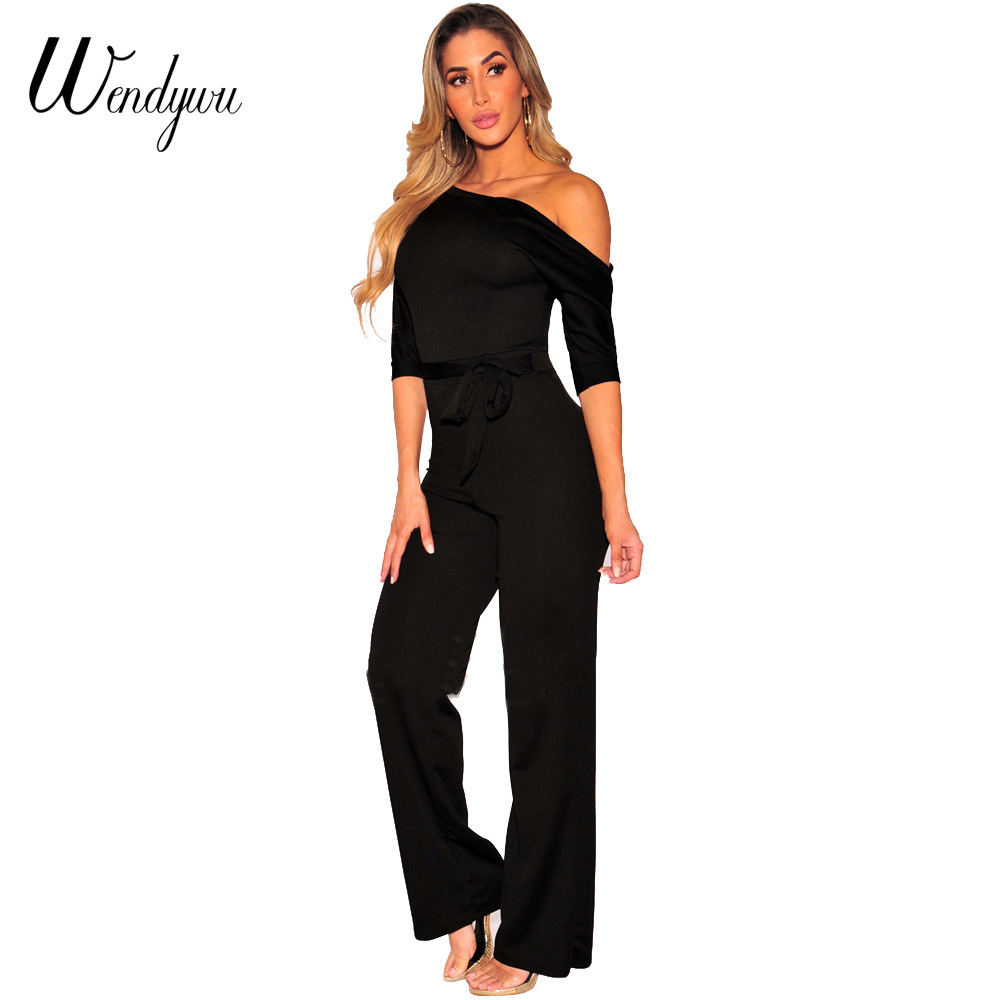 Wendywu New Design Women Off-Shoulder Half Sleeve Solid Black Long Jumpsuit with Sashes