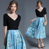 2018 summer patchwork print floral woman dress fashion V Neck half sleeve sexy party vestidos M 2XL casual dress black