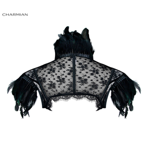 Image 3 - Charmian Womens Victorian Gothic Black Feather High Neck Cape Sheer Floral Mesh Corset Shrug