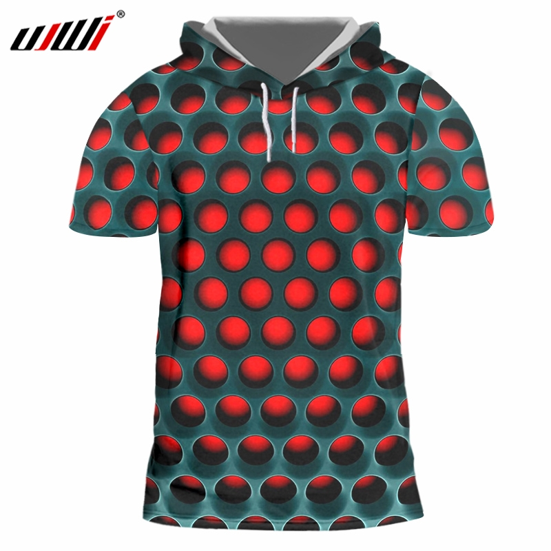 UJWI Men Hoodie T-Shirt New Funny 3D Shirt Print Red Black Mesh Harajuku Large Size Clothing Mens Slim Hooded Top