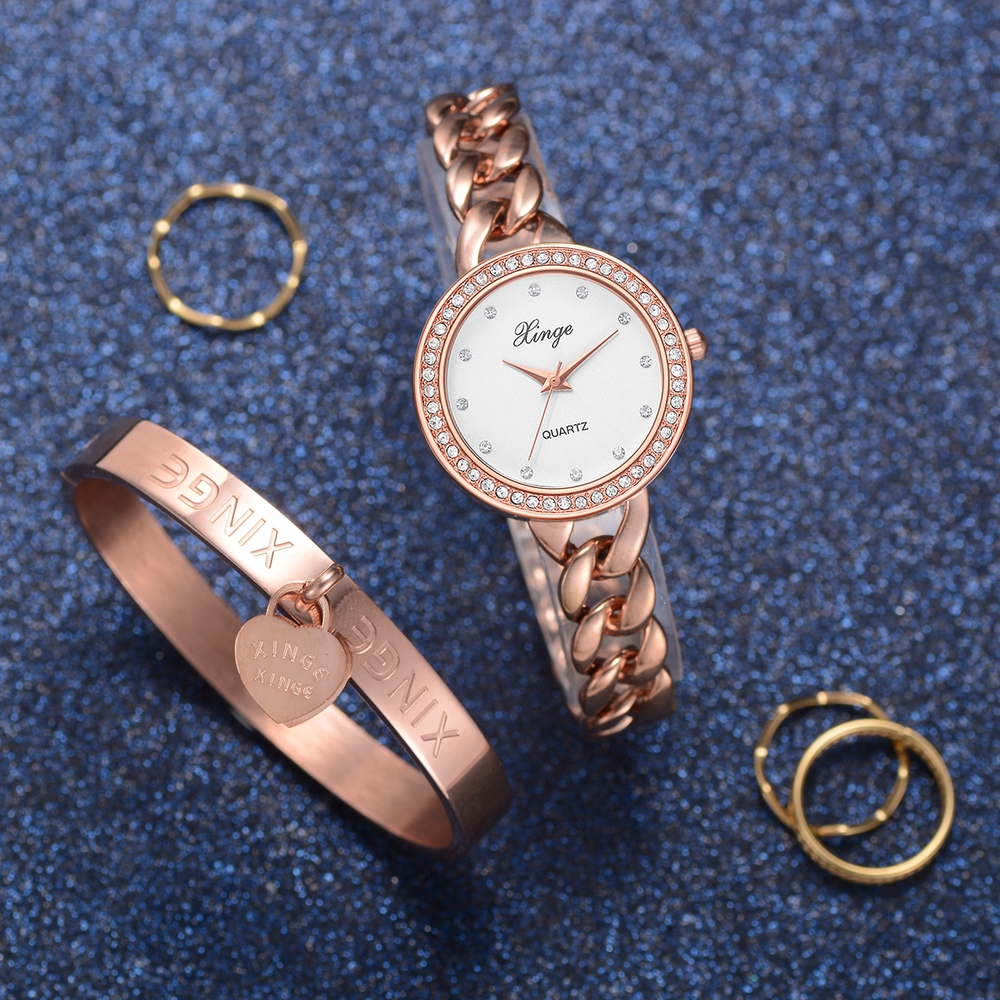 Xinge Brand Quartz-Watch Women Bracelet Love Drill Jewelry Watch Set Wristwatch Waterproof Fashion Gift For Women Bracelet Watch xinge fashion brand popular watch women believe in yourself bracelet crystal wristwatch set girls gift clock women 2018 watches