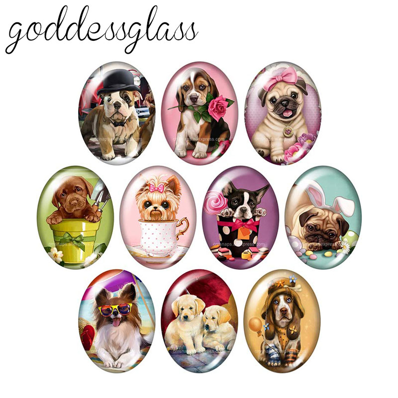 Lovely Dogs Love Pets 13x18mm/18x25mm/30x40mm Oval Photo Glass Cabochon Demo Flat Back Making Findings TB0013