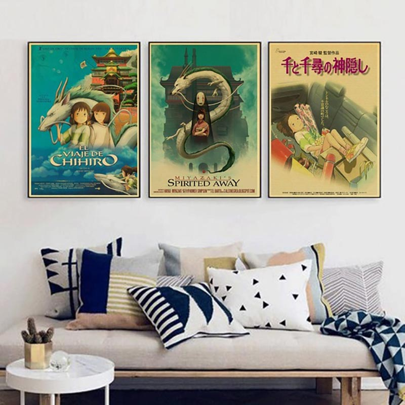 Canvas Pictures Home Decor Painting Wall Art Hd Printed Spirited Away Hayao Miyazaki Movie Modular Nordic Poster For Living Room image