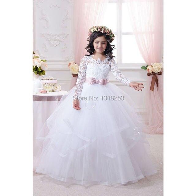 f487a50d93fa5 Princesse dentelle fleur fille robe à manches longues robe de bal Tulle pas  cher chine première
