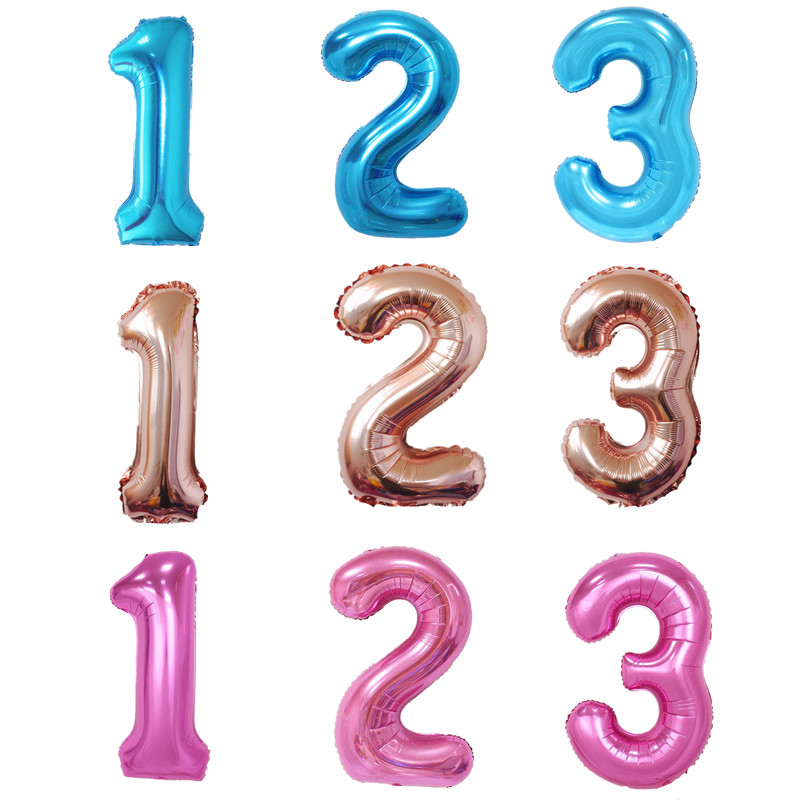 40 Inch Large Champagne Pink Blue Number Foil Balloons Digit Helium Balloon Wedding Baby Shower Birthday Party Decoration