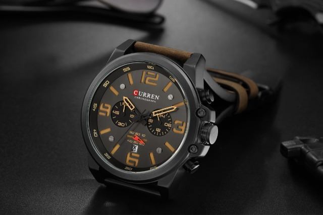 CURREN Mens Watches Top Luxury Brand Waterproof Sport Wrist Watch Chronograph Quartz Military Genuine Leather Relogio Masculino 2