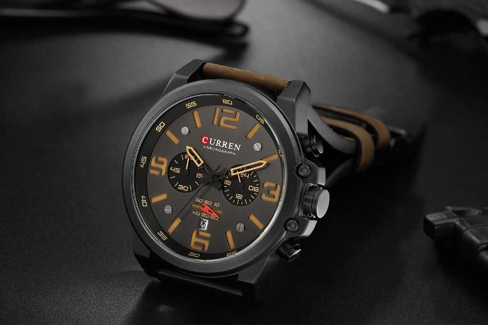 CURREN Мужские часы Топ люксовый бренд водонепроницаемые спортивные наручные часы хронограф кварцевые военные из натуральной кожи Relogio Masculino