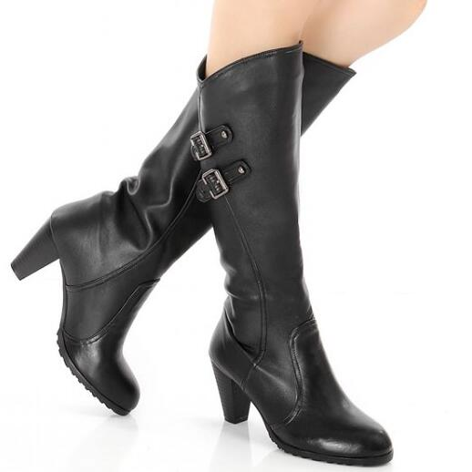 Women Winter Genuine Leather Thick High Heel Round Toe Buckle Fashion Knee High Boots Plus Size 33-45 SXQ1007 nayiduyun new fashion thigh high boots women genuine leather round toe knee high boots high heel party pumps casual shoes