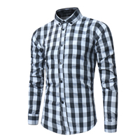 2018 New Men S Long Sleeved Shirts Fashion Casual Male Plaid Shirt Colors Are Red And