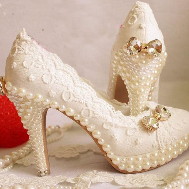 Pearl Sparkling Diamond Wedding Shoes Handmade Lace Shoe Dress Formal High