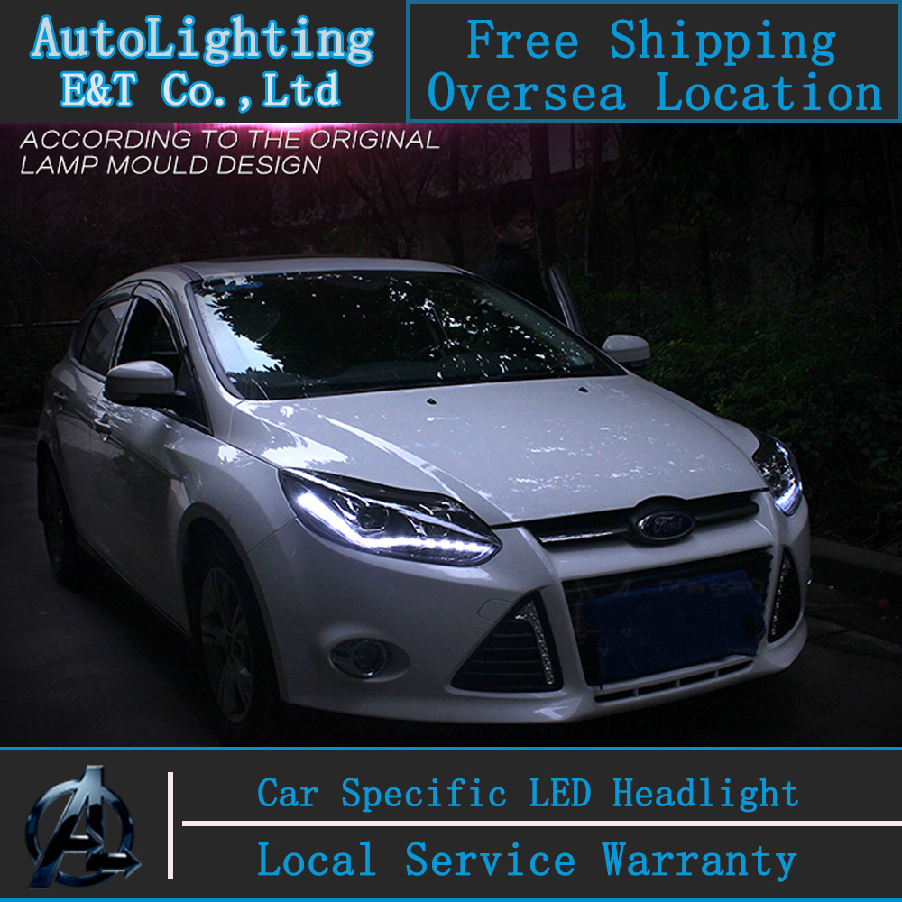 Car styling LED Head Lamp for Ford Focus 3 headlight assembly 2012-2014 Europe led H7 with hid kit 2 pcs. car styling head lamp for bmw e84 x1 led headlight assembly 2009 2014 e84 led drl h7 with hid kit 2 pcs