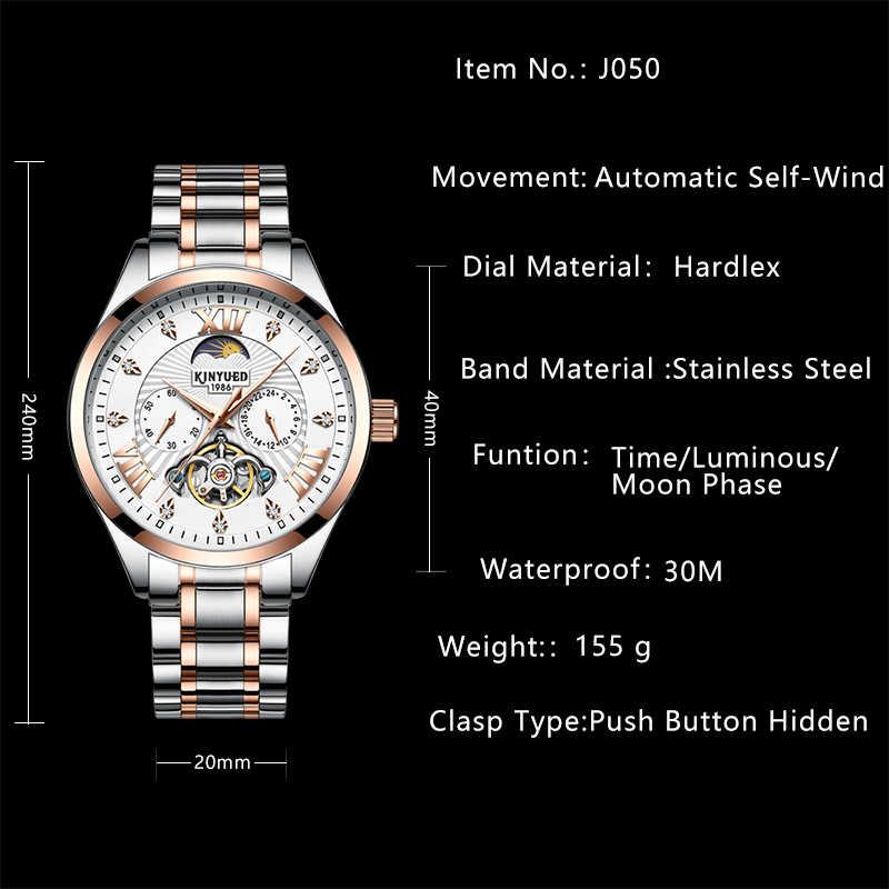 KINYUED ビジネス高級スケルトン腕時計メンズステンレス鋼ダイヤモンドムーンフェイズ最高の機械式時計自動男性手首オム