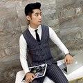 Мужской костюм жилет Высокого класса бизнес случайный Тонкий полосатый жилет мужчин V-образным Вырезом карман шить осень модной одежды мужчины серый Синий
