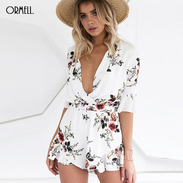 6327aeab2896 ORMELL Boho Floral Print Deep V Neck Jumpsuit Romper Women Spring White  High Waist Chiffon Playsuits