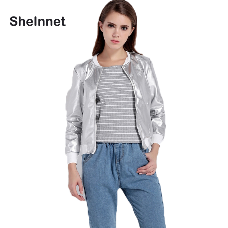 Sheinnet Apparel Women Fashion Casual Outwear Crew Neck Loose Bomber Jackets Silver Zipper Fly Chic Female