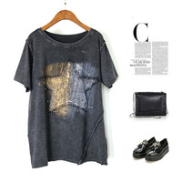 Harajuku Punk Rivet Gold Print Top Tees Star Appliques European And American Style Vintage Cotton Street