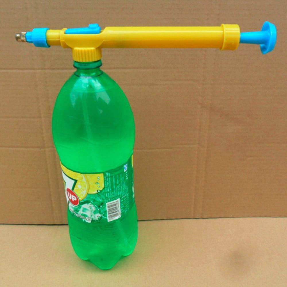 Mini brinquedo armas garrafas de suco interface plástico trole arma pulverizador cabeça pressão água pulverização cabeça suprimentos jardinagem