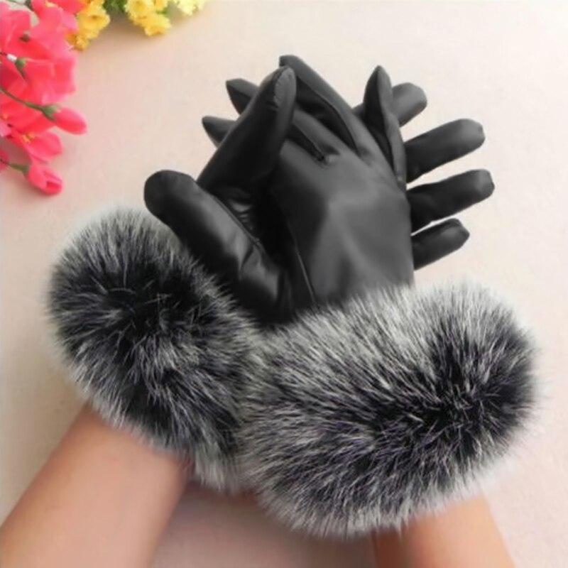 Hot Black/Purple Fashion Women Black Faux Leather Gloves Autumn Winter Warm Rabbit Fur Mittens W1