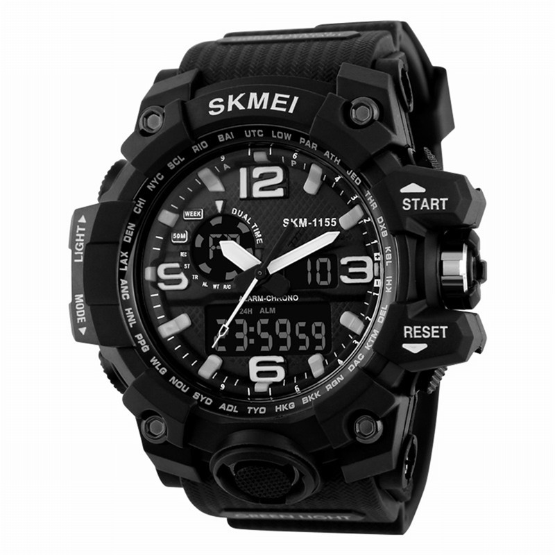 Outdoor Multifunctional Digital Tactical Watch Dual Display Sports Men Waterproof Double Movement Noctilucent Wrist Watches# все цены
