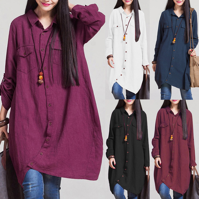 Long Sleeve Blouse Shirts Women tunics Plus Size 3XL 4XL 5XL OL Long Tops Irregular Hem Buttons Loose Casual Vintage Tops female 4