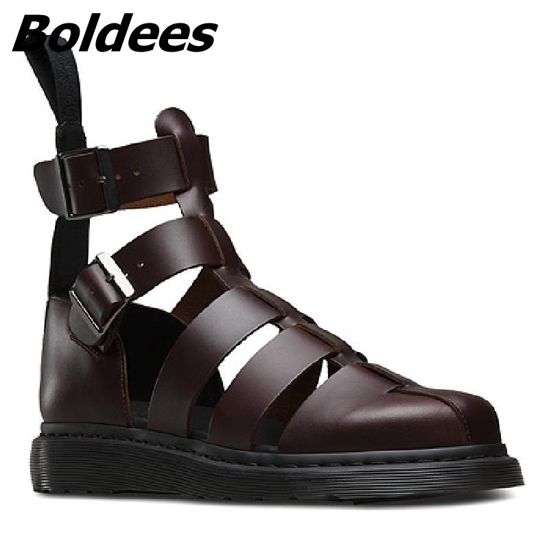 Erkek Plataforma Sapatos Para Boldees marrom Gladiador Homens Os Fechada Sandálias Verão Fivelas Sandalet Festa De Casuais Toe Cortar Preto YxrqXYO