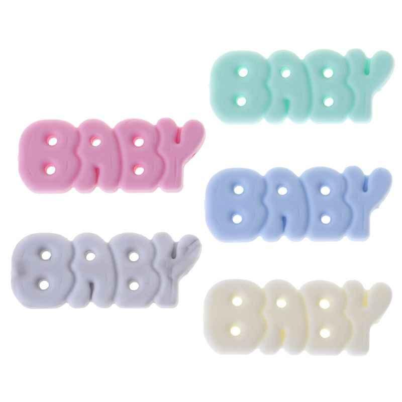 Cuentas de silicona mordedor de bebé DIY joyería COLLAR COLGANTE dentición suministros moler cuentas letras recién nacido Cuidado Oral productos para niños