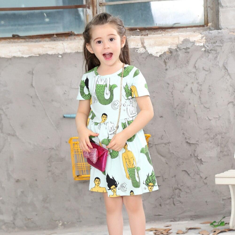 2018 Girls Print Dress Little Girls Dresses Cotton Summer -2035