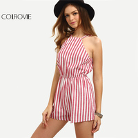 COLROVE Sleeveless Summer Style Beach Romper Women Jumpsuit Ladies Sexy Vertical Stripe Backless Cutaway Rompers
