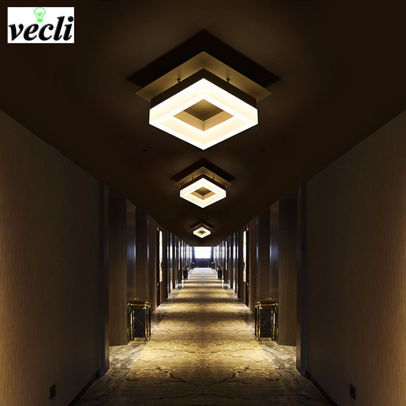 LED simple aisle lights hall lights home entrance door balcony corridor lights Nordic creative 12W square ceiling lamps the personalized fashion simple cryst led corridor entrance hall aisle lights ceiling lamp room balcony lamp lights color sd128