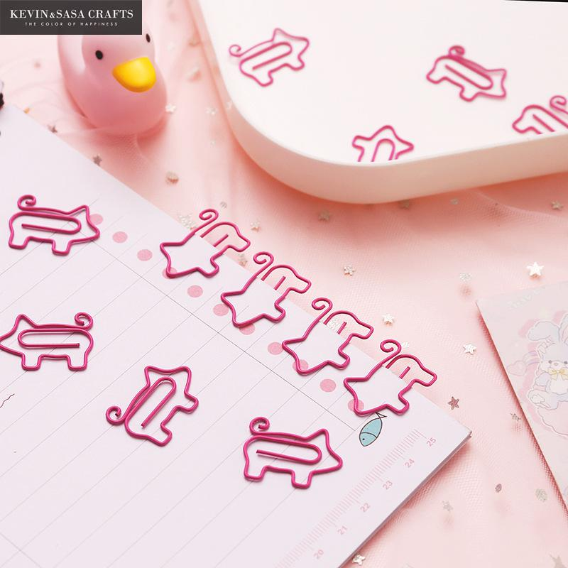 10Pcs/Set Pig Clips Set Office Supplies Quality School Stationery For Students Office Accessories Clip Pink Bookmark Clips