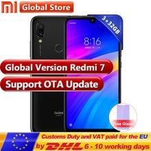 Küresel sürüm Xiaomi Redmi 7 3 GB 32 GB RAM ROM Snapdragon 632 Moble telefon Octa Çekirdek 4000 mAh 6.26 ''telefon 12 + 2 MP Çif...