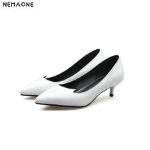 NEMAONE 2019 Fashion women pumps 4cm cow leather women shoes low heels pointed toe high quality office heels