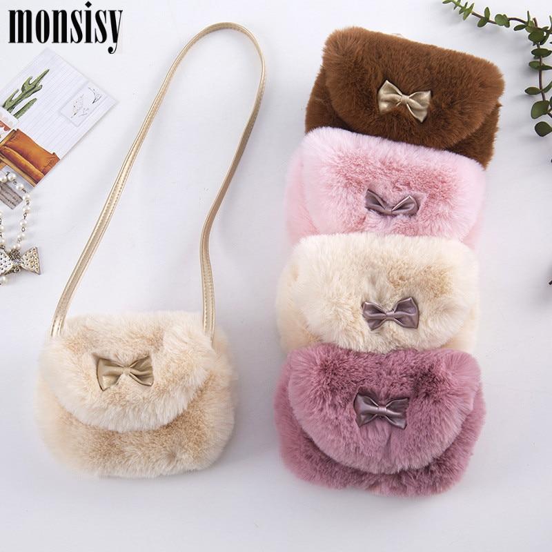 Monsisy Winter Faux Fur Children Bag For Girl Purse And Handbag Kid Wallet Kawaii Bowknot Ball Baby Toddler Mini Shoulder Bag