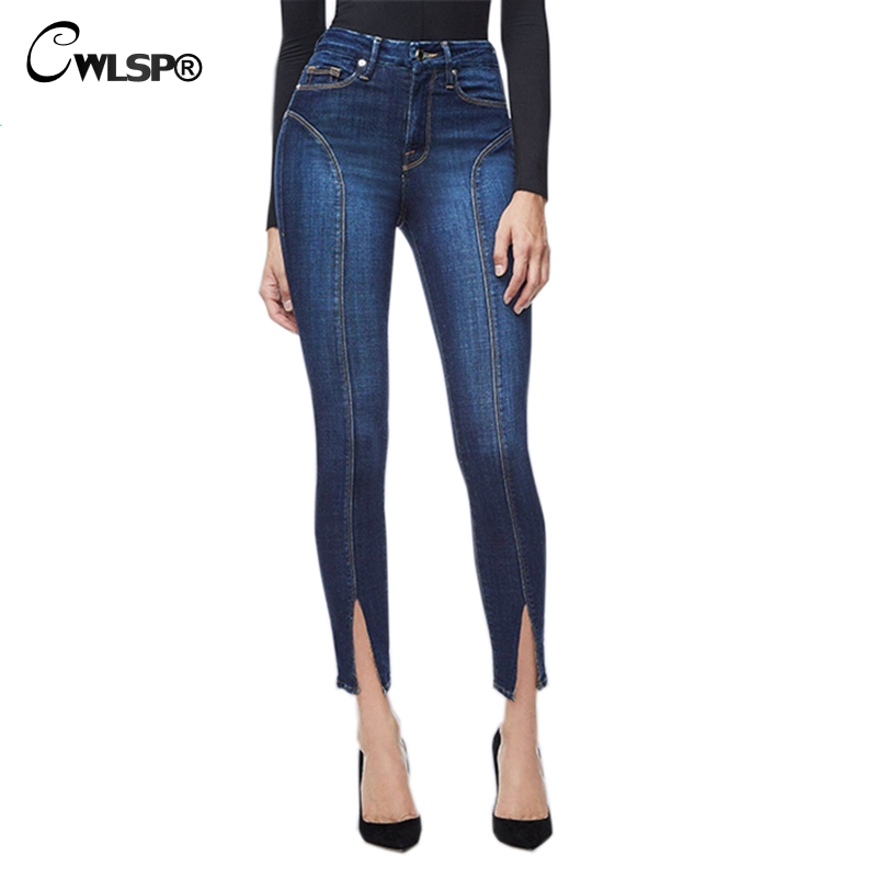 CWLSP S-3XL Split Mid Waist Pencil Skinny Jeans Woman Plus Size Casual Pants Female High Stress Calcas Jeans Feminina QL3984