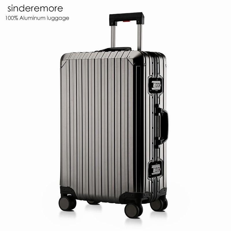 Sindermore Aluminum Luggage Suitcase 20 25 29 Carry On Luggage Hardside Rolling Luggage Travel Trolley Luggage Suitcase