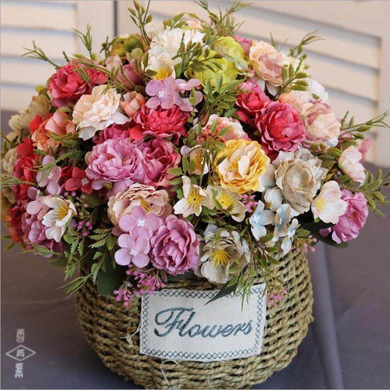 Peony flower simulation of artificial flower bouquets plastic flowers home table wedding supplies vase flower arrangement