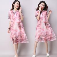 Summer Dress Chinese Style Women Chiffon Elegent Peony Print Swing Dress Pearl Button New Plus Size Short Sheer Sleeve Dres