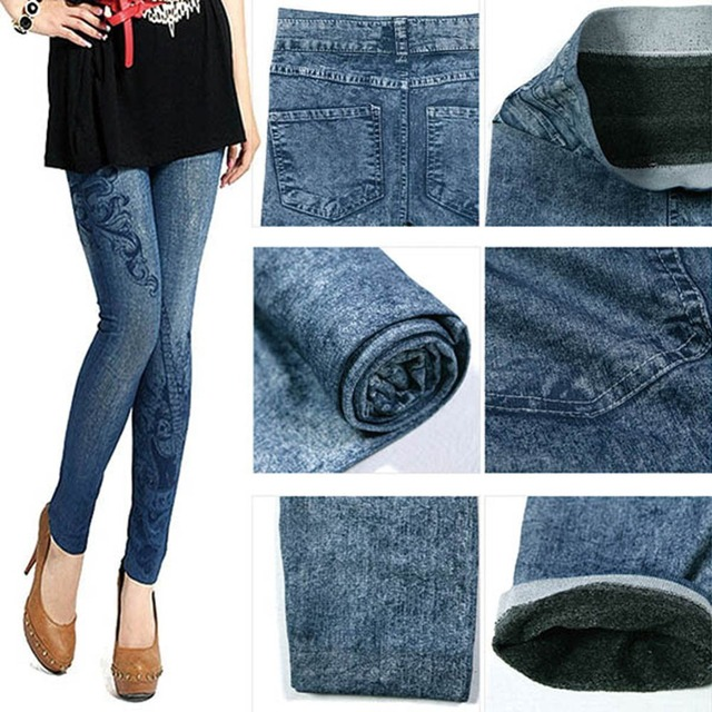 Women Stretch One Size Denim Jeans Leggings Skinny Slim