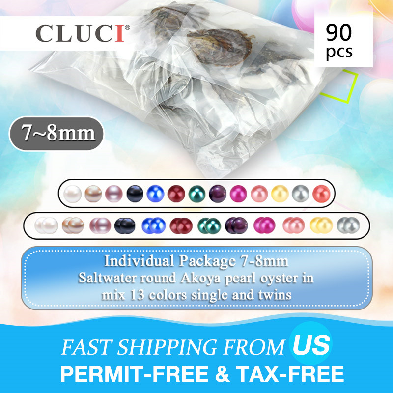 CLUCI 90pcs 7 8mm Rainbow Akoya Oysters with Pearls Mix 13 Colors Big Pack for Pearl