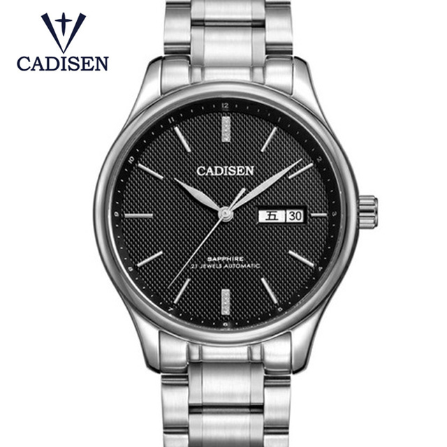 2018 CADISEN Mens Watch Top Brand Luxury Automatic Fashion Gold Mechanical Watch Full Steel Strap Male