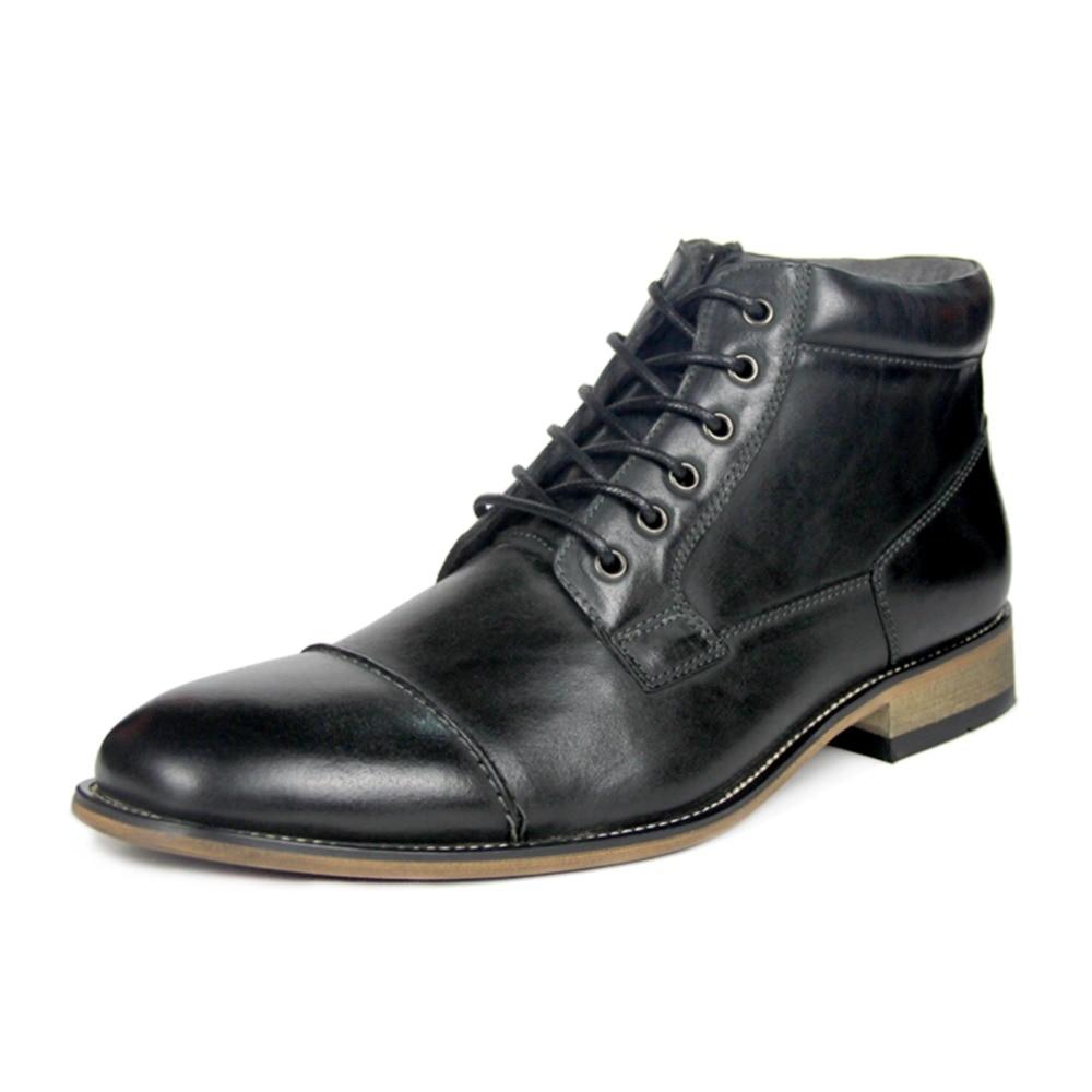 Qualité Printemps Vache Hommes Cheville Lacets Haute brown hiver Mode Véritable De Cuir À En Bottes automne Chaussures Black Vintage XkZPiTuO
