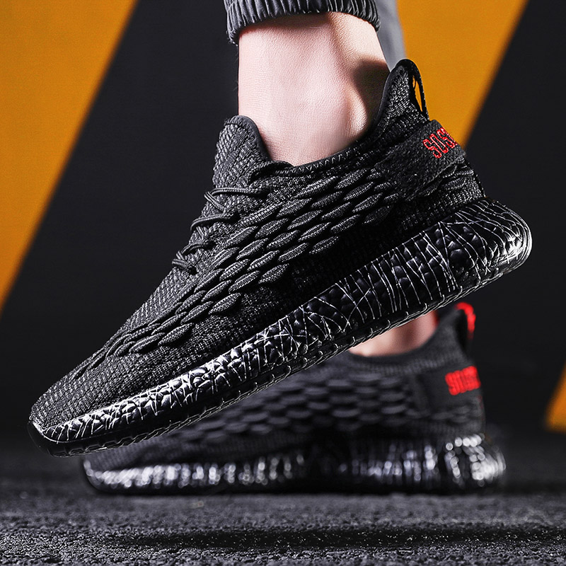 SUROM White Sneakers Men Breathable Mens Shoes Casual Outdoor Lace Up Sneakers Male Non slip Tenis