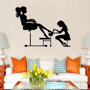 Красота настенные наклейки для салона для дизайна орнамент на стену виниловые художественные наклейки женские украшения для маникюра