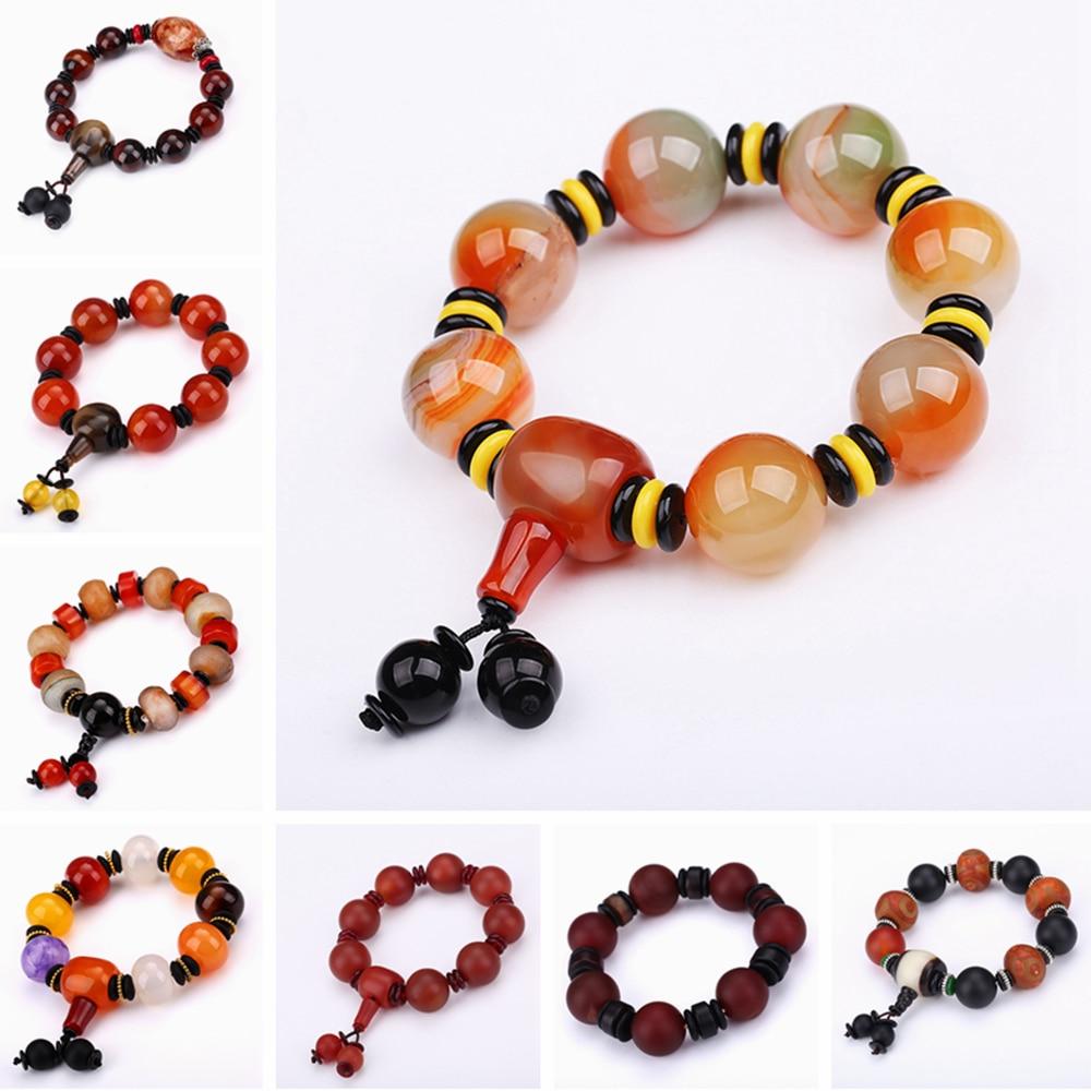 цена Natural Red Agate Bracelet Genuine Beads For Unisex Obsidian 3 Eyes Tibetan Dzi Beads Elastic Bracelet For Women Healing Crystal
