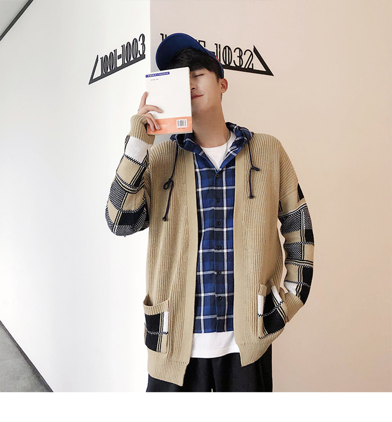 Korean Oversized Sweater Cardigan Men Plaid (3)