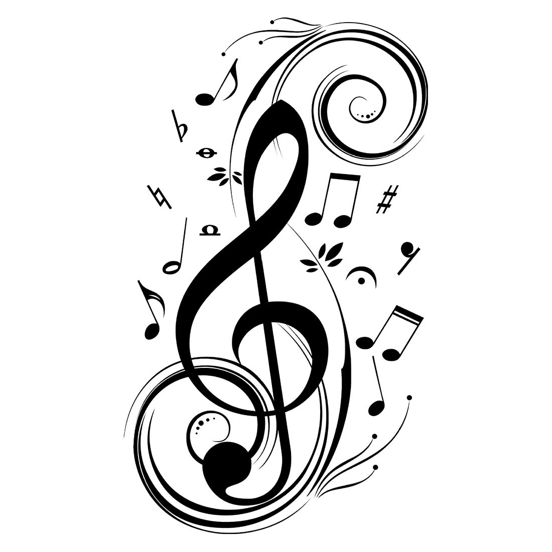 Beat Note music wall art stickers,vinyl wall stickers music decor,Graphic Art musical home decoration-black