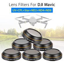 Junestar UV+CPL+Star+ND2+ND4+ND8 Star Filters Lens 4K Camera For DJI Mavic Pro Folding Drone Quadcopter 6pcs Accessories Set