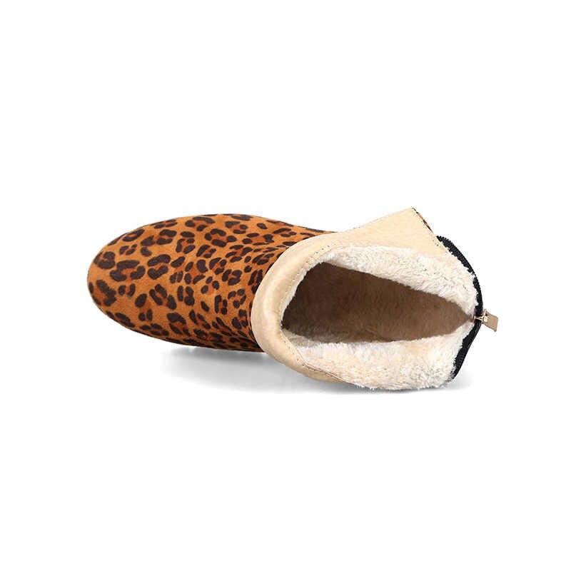 WETKISS Kalın Topuklar Kadın yarım çizmeler Yuvarlak Ayak Ayakkabı Leopar Baskı Kadın Çizme platform ayakkabılar Kadın Kış 2018 Artı Boyutu 43