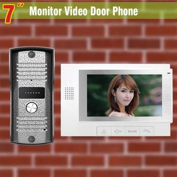 "7"" Lcd video door phone Kit Video Doorbell Intercom Aluminium alloy night vision Camera visual intercom video interphone system"