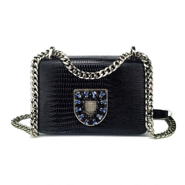 2019 Women Lizard Lines Handbags Lady Genuine Leather Diamonds Chains Flap Woman Handbag Messenger Bags